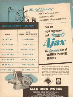 Ajax Iron Works 1954 Vintage Ad Oilfield Engines Pick Right Horsepower