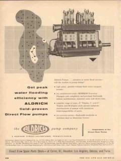 Aldrich Pump Company 1954 Vintage Ad Peak Water Flooding Direct Flow