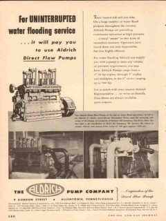 Aldrich Pump Company 1954 Vintage Ad Oil Uninterrupted Water Flooding