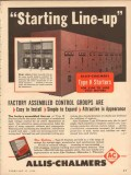 allis-chalmers 1954 starting line up type h starter control vintage ad