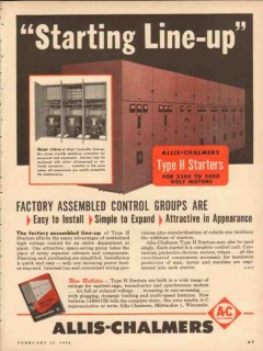 allis-chalmers 1954 starting line up type h starter control vintage ad