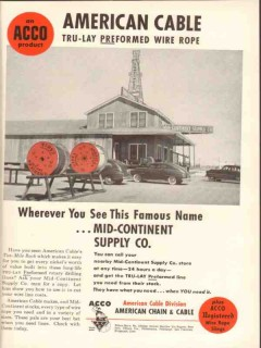 American Chain Cable 1954 Vintage Ad Oil Tru-Lay Preformed Wire Rope