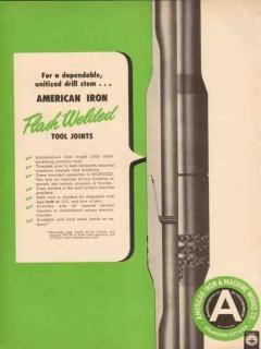 American Iron Machine Works 1954 Vintage Ad Oil Drill Stem Flash Weld