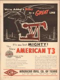 American Mfg Company TX 1954 Vintage Ad Oil Added Baby Great Line T3