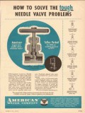 American Meter Company 1954 Vintage Ad Oil Tough Needle Valve Problems