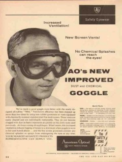 american optical 1954 safety improved dust chemical goggle vintage ad