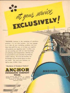 Anchor Petroleum Company 1954 Vintage Ad Oil At Your Service Marketing
