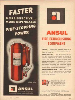 ansul chemical company 1954 faster fire stopping extinguish vintage ad