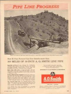 A O Smith Corp 1954 Vintage Ad Pipe Line Progress El Paso Natural Gas