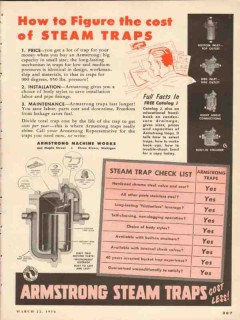 Armstrong Machine Works 1954 Vintage Ad How Figure Cost Steam Traps