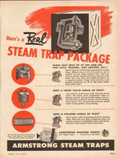 Armstrong Machine Works 1954 Vintage Ad Oil Real Steam Trap Package