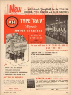 arrow-hart hegeman electric 1954 type ra-v motor starters vintage ad