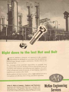 Arthur G McKee Company 1954 Vintage Ad Oil Last Nut Bolt Petroleum