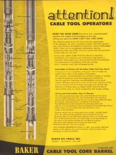 Baker Oil Tools Inc 1954 Vintage Ad Attention Cable Tool Operator Core