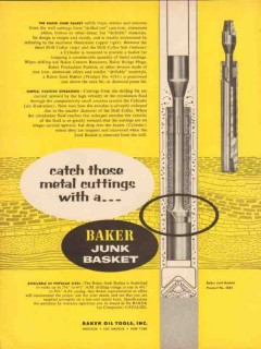 Baker Oil Tools Inc 1954 Vintage Ad Catch Metal Cuttings Junk Basket