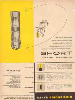 Baker Oil Tools Inc 1954 Vintage Ad Drill Bridge Plug Short Length