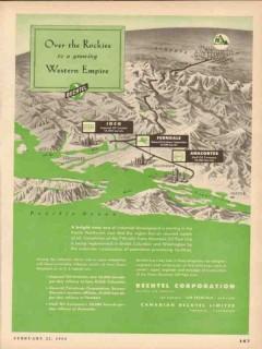 Bechtel Corp 1954 Vintage Ad Oil Over Rockies Growing Western Empire