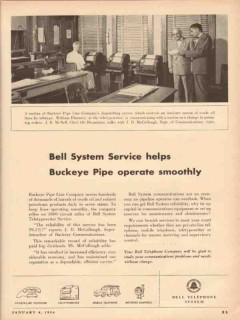 bell telephone system 1954 buckeye pipe line co dispatching vintage ad