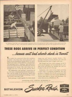 bethlehem steel company 1954 rods arrive perfect condition vintage ad