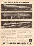 Bethlehem Steel Company 1954 Vintage Ad Tall Towers Welding Weldments