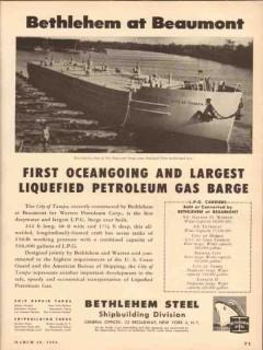 bethlehem steel company 1954 city tampa largest lpg barge vintage ad