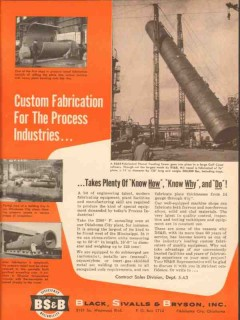 Black Sivalls Bryson Inc 1954 Vintage Ad Oil Custom Fabricate Process