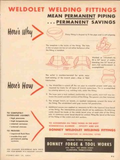 bonney forge tool works 1954 weldolet welding fittings vintage ad