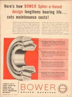 Bower Roller Bearing Company 1954 Vintage Ad Oil Spher-O-Honed Design
