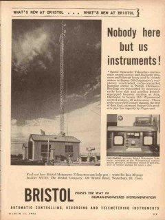 Bristol Company 1954 Vintage Ad Oil Field Nobody Here But Instruments