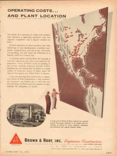 Brown Root Inc 1954 Vintage Ad Oil Operating Costs Plant Location