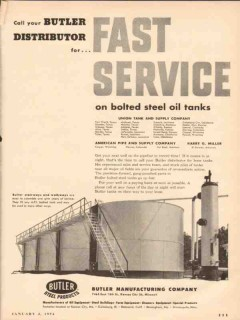 butler mfg company 1954 fast service steel tanks vintage ad