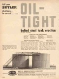Butler Mfg Company 1954 Vintage Ad Oil Tight Storage Steel Tanks