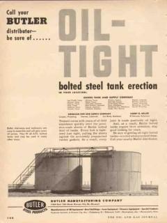 Butler Mfg Company 1954 Vintage Ad Oil Tight Storage Steel Tanks