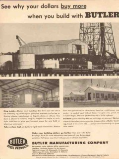 Butler Mfg Company 1954 Vintage Ad Oil Dollars Buy More Building