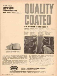 Butler Mfg Company 1954 Vintage Ad Oil Quality Coated Resist