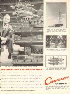 Cameron Iron Works 1954 Vintage Ad Oil Squirt Baker Heavyweight Punch