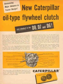 caterpillar tractor company 1954 oil-type flywheel clutch vintage ad