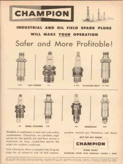 champion spark plugs 1954 industrial oil field more profit vintage ad