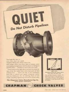 Chapman Valve Mfg Company 1954 Vintage Ad Oil Quiet Tilting Disc Check