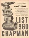 Chapman Valve Mfg Company 1954 Vintage Ad Oil List 960 Does Big Job