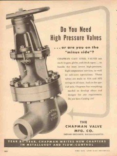 Chapman Valve Mfg Company 1954 Vintage Ad Oil Need High Pressure Cast