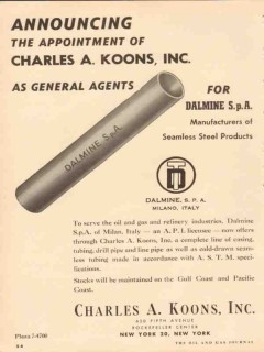 Charles A Koons Inc 1954 Vintage Ad Oil Announcing Appointment Agent