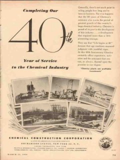 chemical construction corp 1954 40 year service industry vintage ad