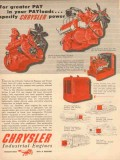 chrysler corp 1954 greater payloads specify power engine vintage ad
