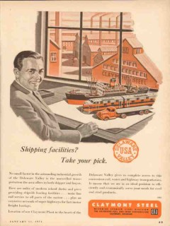 claymont steel 1954 delaware valley shipping facilities vintage ad