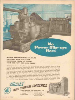 climax engine pump mfg company 1954 no slip-ups vintage ad