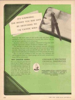 columbia-southern chemical 1954 save money caustic soda vintage ad