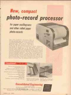 consolidated engineering corp 1954 photo-record processor vintage ad