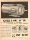 howell electric motors company 1954 sudden stopping brake vintage ad