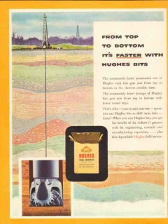 Hughes Tool Company 1954 Vintage Ad Oil Field Bits Top Bottom Faster